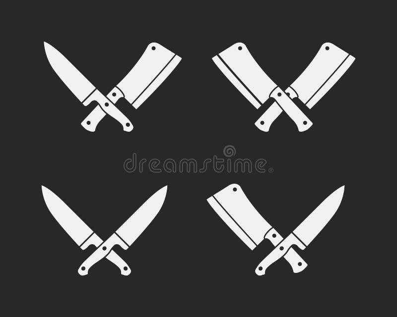 Grupo de ícones das facas de carniceiro Facas da carne isoladas em um fundo preto ilustração stock