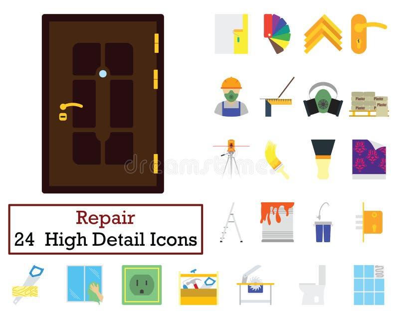 Grupo de 24 ícones de abrigo dos reparos ilustração stock