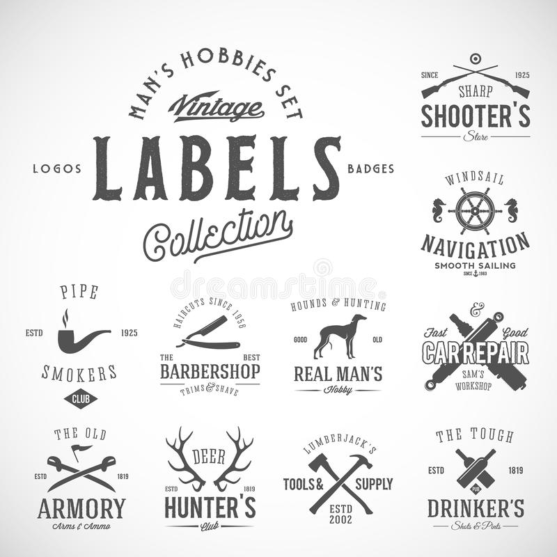Grupo de ícones, de etiquetas ou de Logo Templates With Retro Typography do vintage para passatempos dos homens tais como a vela, ilustração royalty free