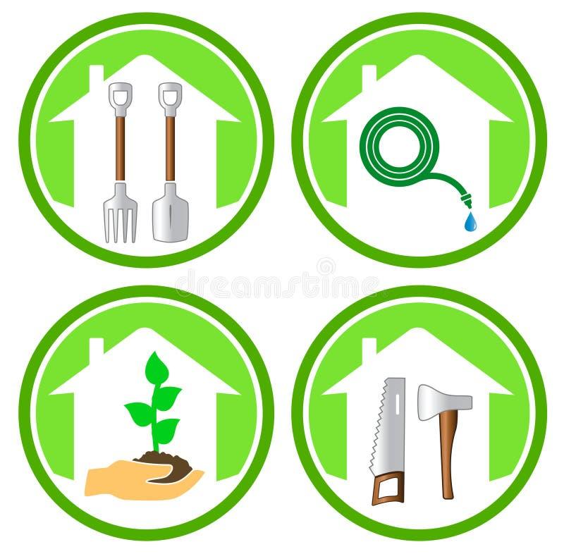 Grupo de ícones de jardinagem do conceito ilustração stock