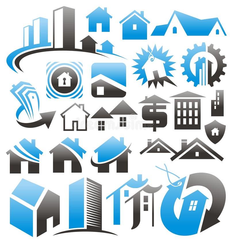 Grupo de ícones, de símbolos e de sinais da casa. ilustração royalty free