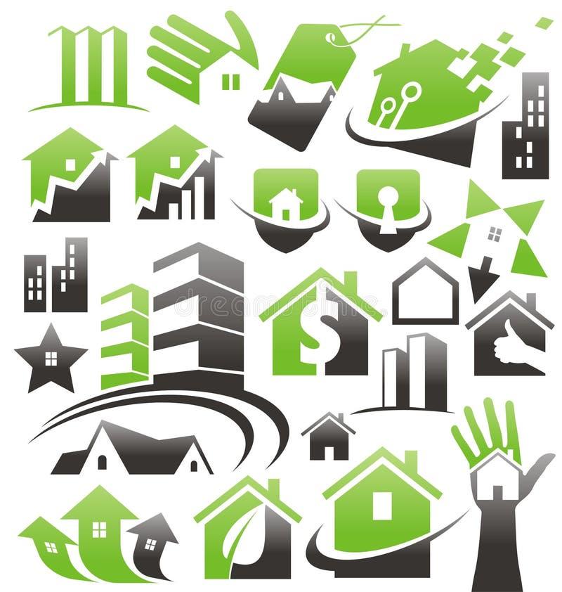 Grupo de ícones, de símbolos e de sinais da casa ilustração royalty free