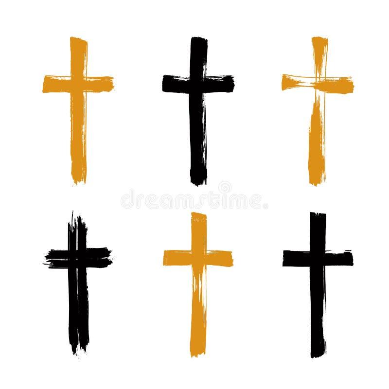 Grupo de ícones desenhados à mão da cruz do grunge, coleção ilustração stock