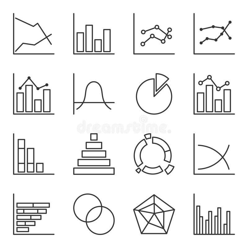 Grupo de ícones de diagramas gráficos Esboço facilmente editável Vetor isolado no fundo branco ilustração royalty free