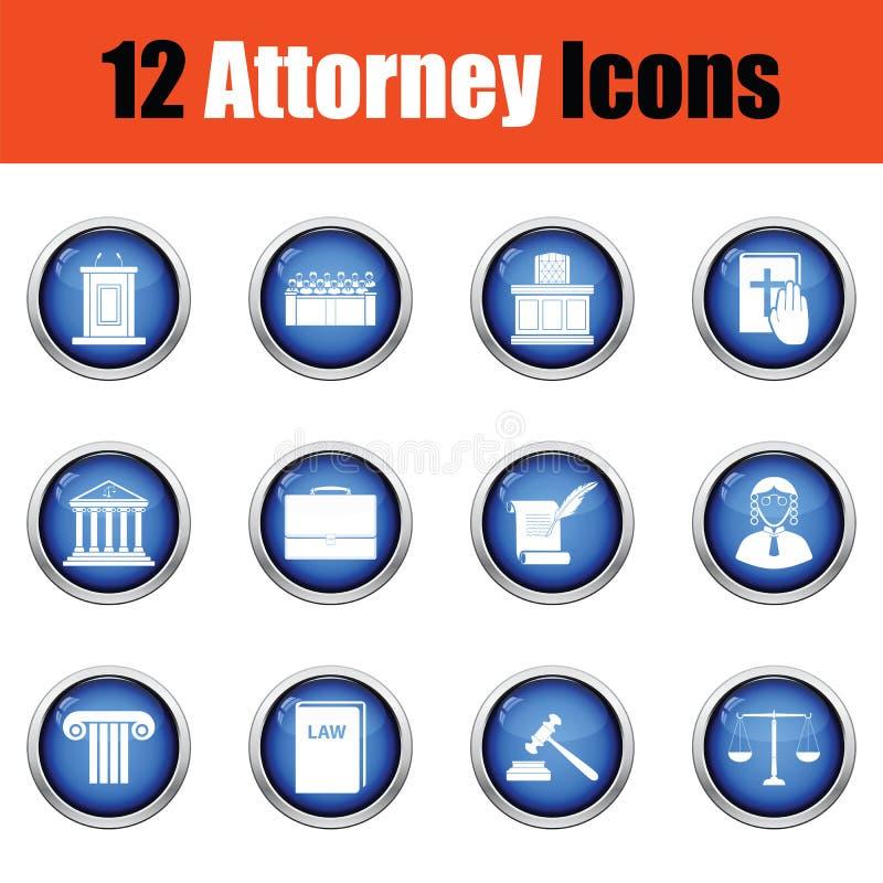 Grupo de ícones do advogado ilustração stock