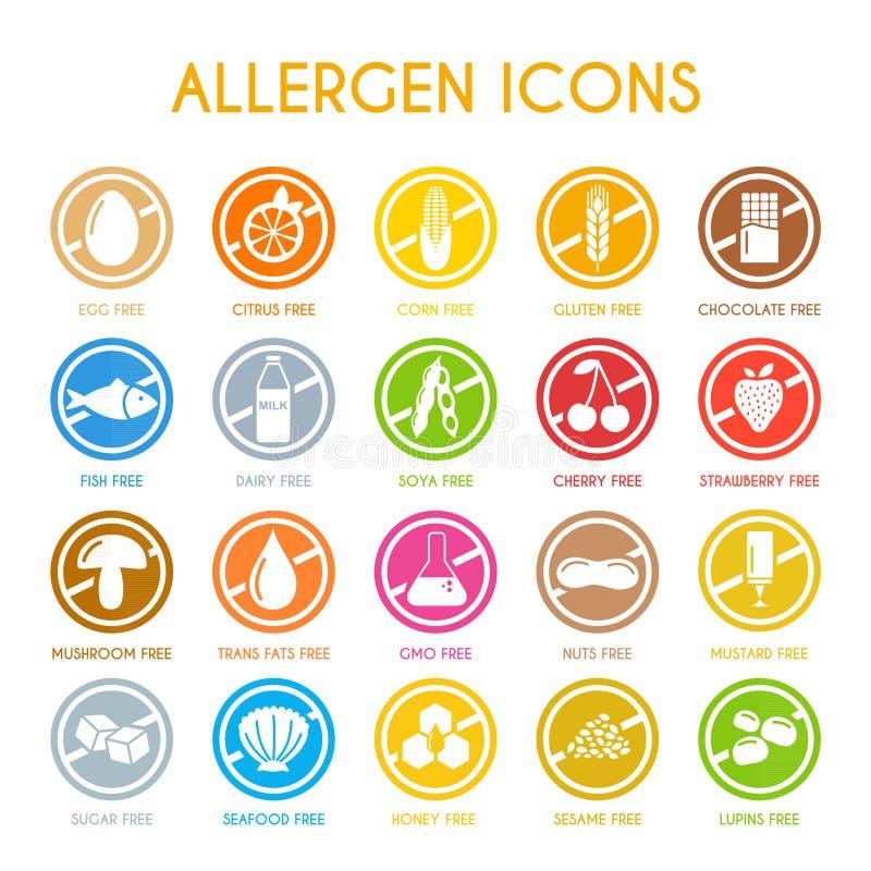 Grupo de ícones do alérgeno ilustração stock