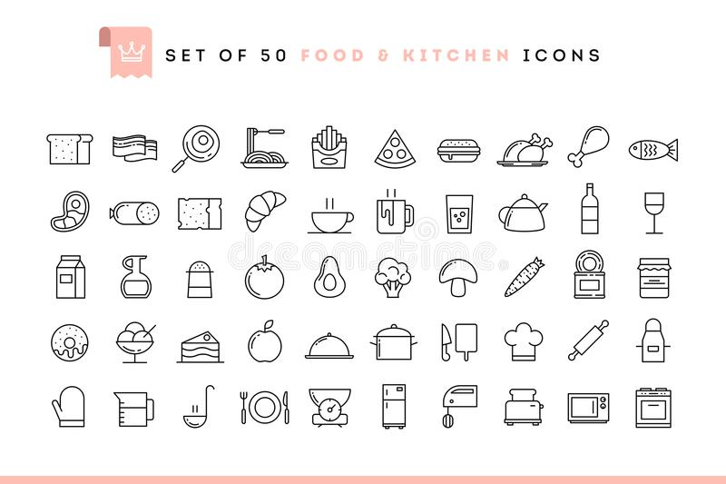 Grupo de 50 ícones do alimento e da cozinha, linha estilo fina ilustração royalty free