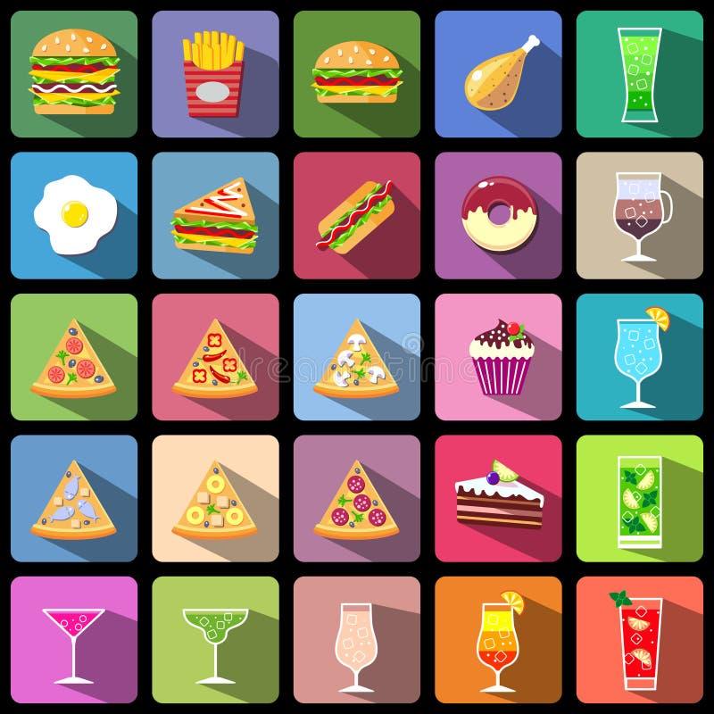 Grupo de ícones do alimento e das bebidas Ícones isolados do estilo projeto liso ilustração stock