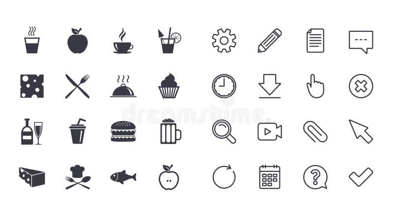 Grupo de ícones do alimento e das bebidas Sinais do restaurante ilustração stock