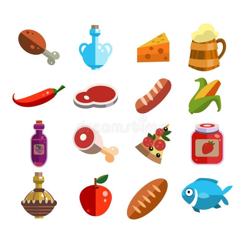 Grupo de ícones do alimento no projeto liso ilustração stock