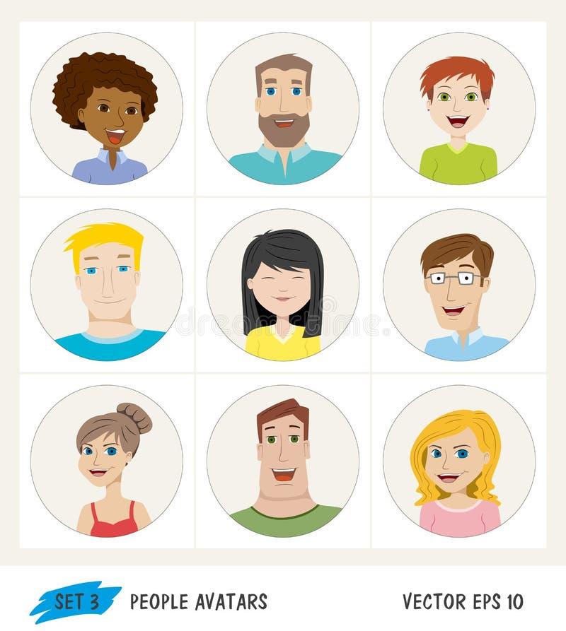 Grupo de ícones do avatar dos povos ilustração royalty free