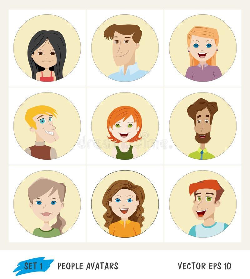 Grupo de ícones do avatar dos povos ilustração do vetor