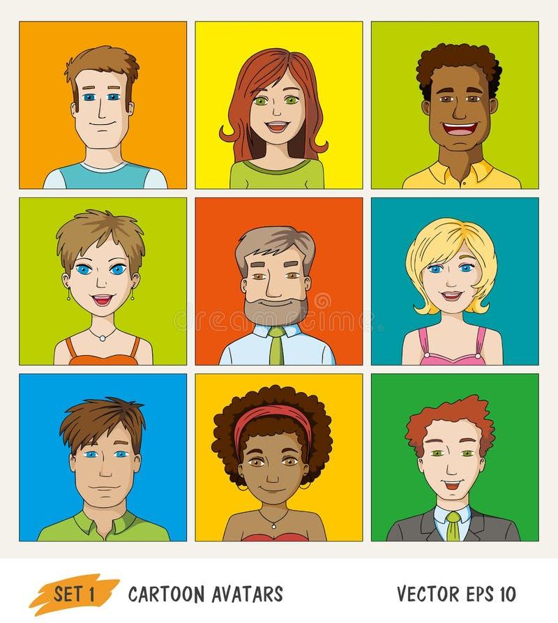 Grupo de ícones do avatar dos povos dos desenhos animados ilustração royalty free