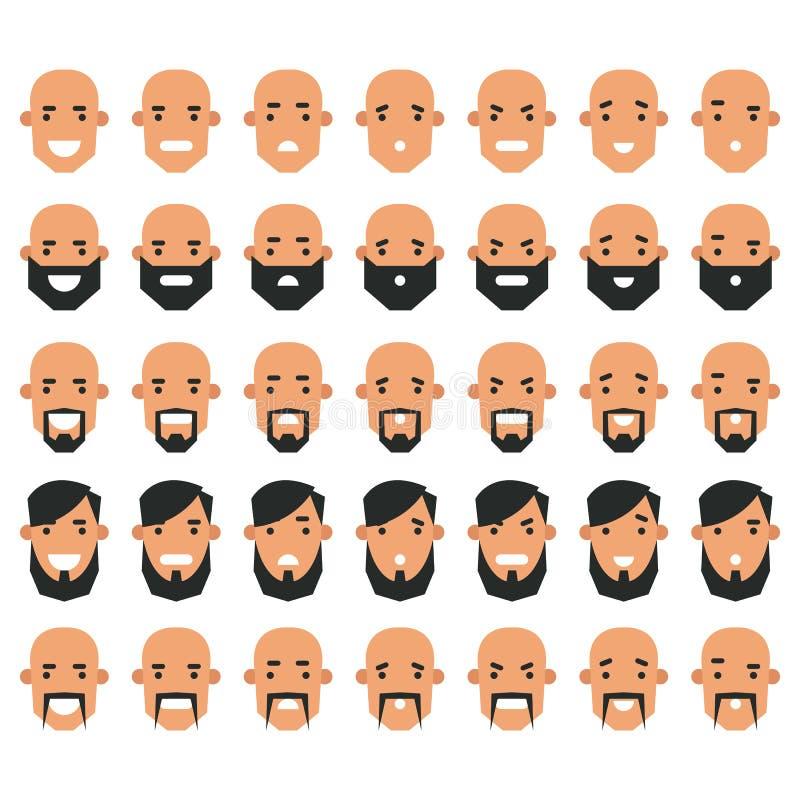 Grupo de ícones do avatar no estilo liso Homens principais com emoti diferente ilustração royalty free