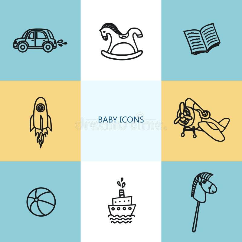 Grupo de ícones do bebê no estilo linear na moda ilustração do vetor