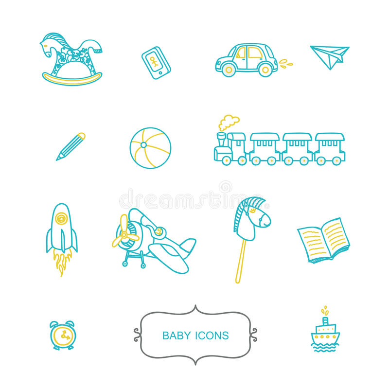 Grupo de ícones do bebê no estilo linear na moda ilustração stock