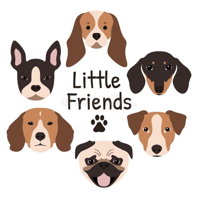 Grupo de 6 ícones do cão que caracterizam o focinho ilustração royalty free