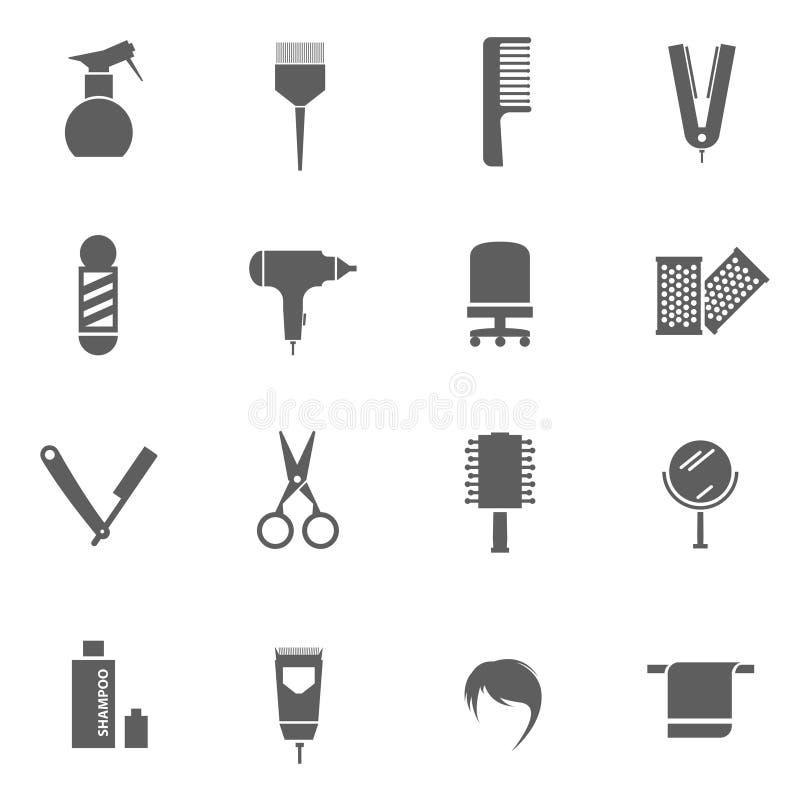 Grupo de ícones do cabeleireiro imagens de stock
