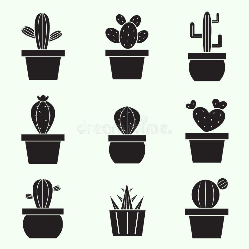 Grupo de ícones do cacto do vetor ilustração stock