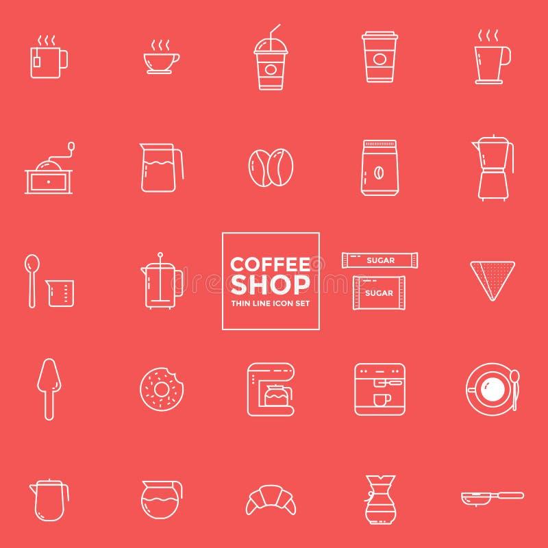 Grupo de ícones do café - ilustração do vetor ilustração stock