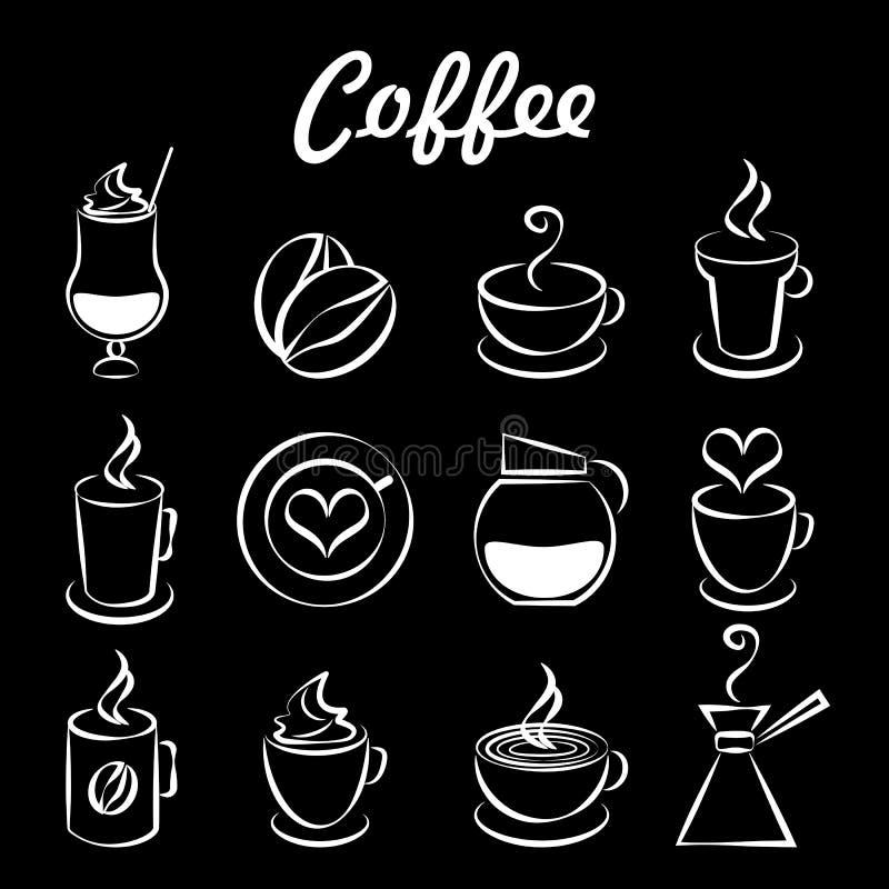 Grupo de ícones do café no preto ilustração do vetor