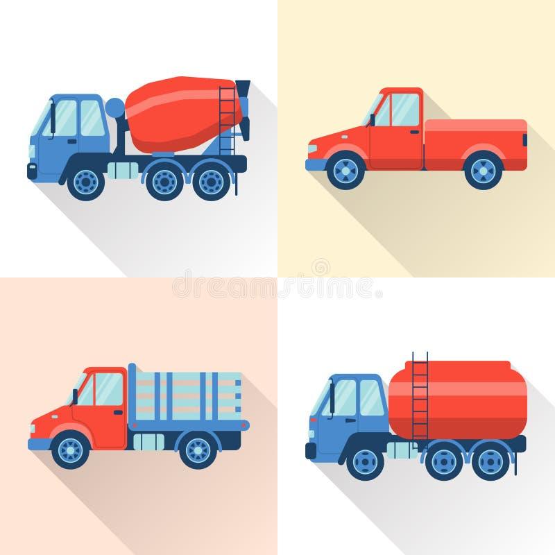 Grupo de ícones do caminhão no estilo liso com sombra longa ilustração stock