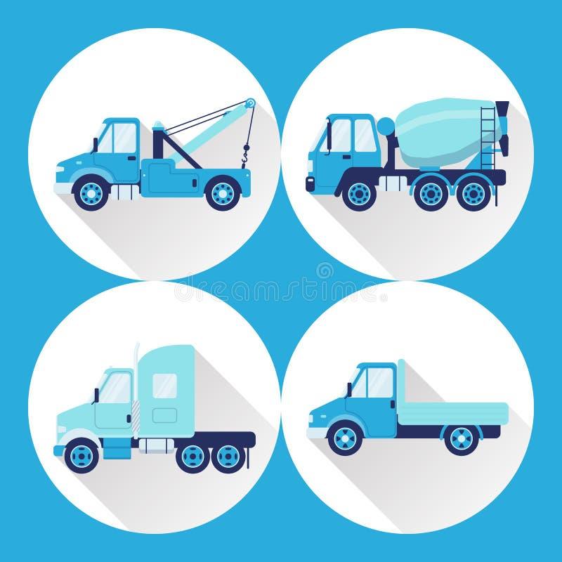 Grupo de ícones do caminhão no estilo liso com sombra longa ilustração do vetor