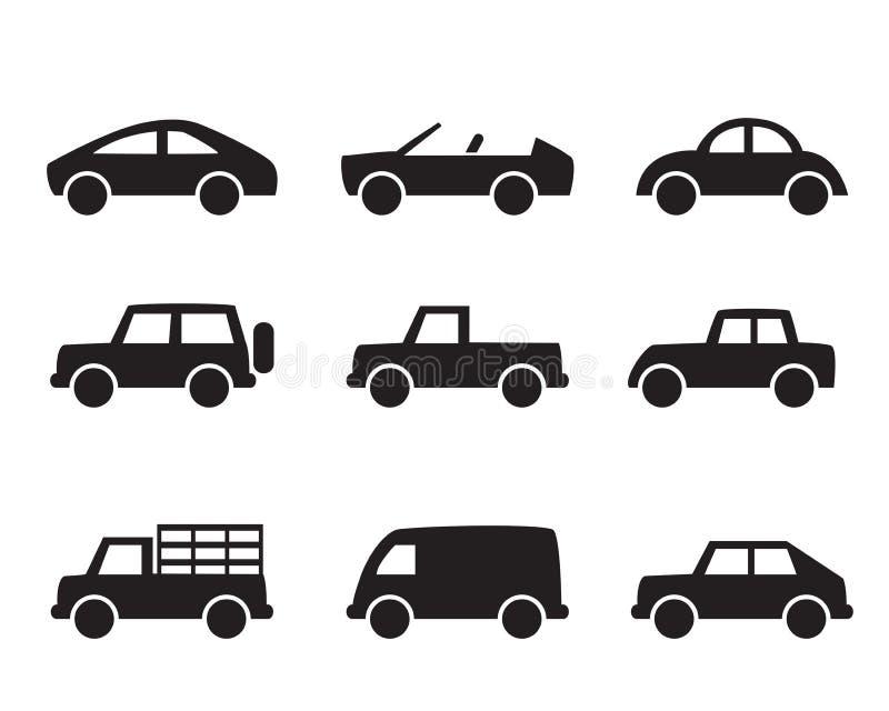 Grupo de ícones do carro no estilo simples ilustração royalty free