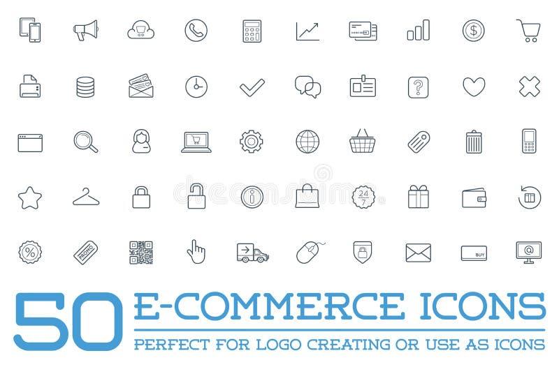 Grupo de ícones do comércio eletrônico do vetor ilustração royalty free