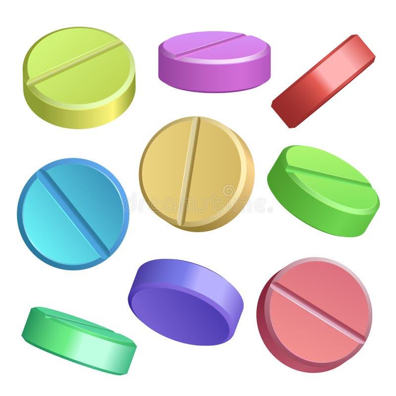 Grupo de ícones do comprimido da cor ilustração royalty free