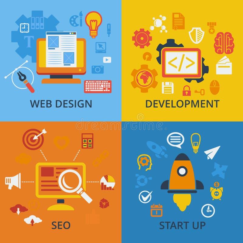 Grupo de 4 ícones do conceito do vetor para a Web ilustração stock