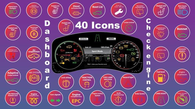 Grupo de ícones do conjunto do instrumento do painel - códigos do dtc, indicadores de mau funcionamento do motor, ilustração ilustração stock