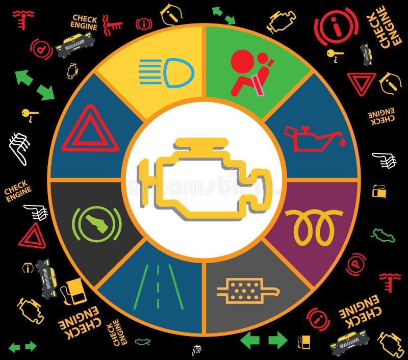 Grupo de ícones do conjunto do instrumento do painel - códigos do dtc, indicadores de mau funcionamento do motor, ilustração ilustração do vetor