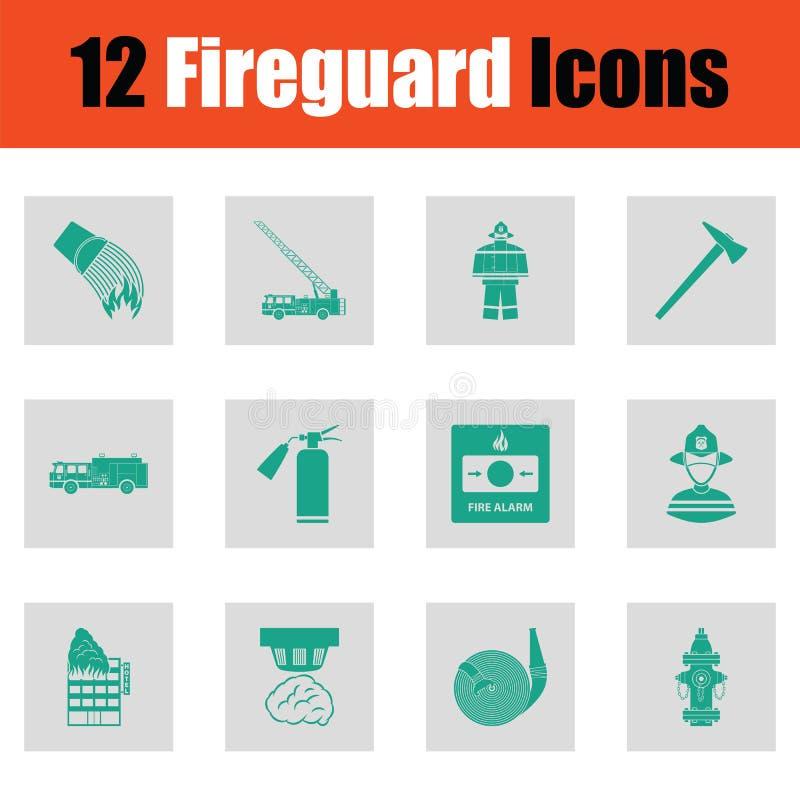 Grupo de ícones do corpo de bombeiros ilustração stock