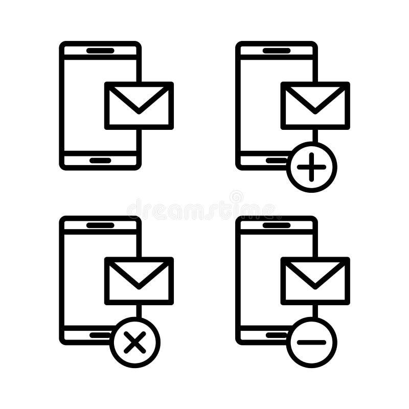 grupo de ícones do correio do smartphone Elemento de ícones do telefone para apps móveis do conceito e da Web Linha fina ícones p ilustração royalty free