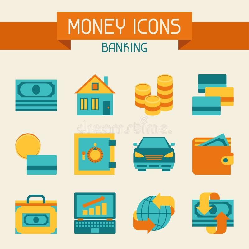 Grupo de ícones do dinheiro e da operação bancária