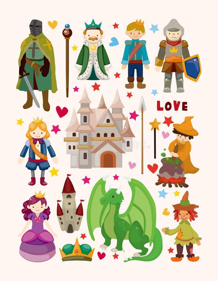Grupo de ícones do elemento do conto de fadas ilustração do vetor