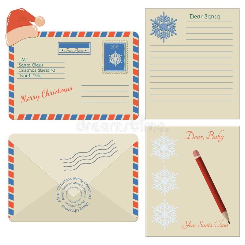 Grupo de ícones do envelope do Natal ilustração royalty free