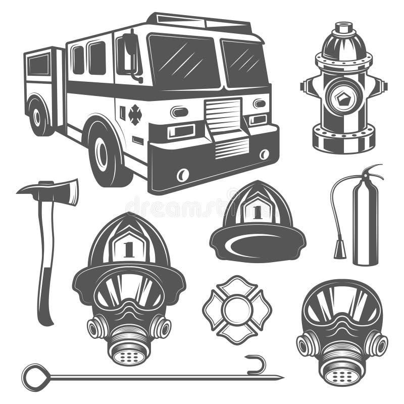 Grupo de ícones do equipamento do sapador-bombeiro e do fogo do vintage no estilo monocromático ilustração do vetor