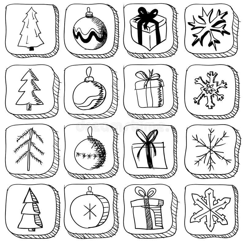 Grupo de ícones do esboço do Natal ilustração royalty free