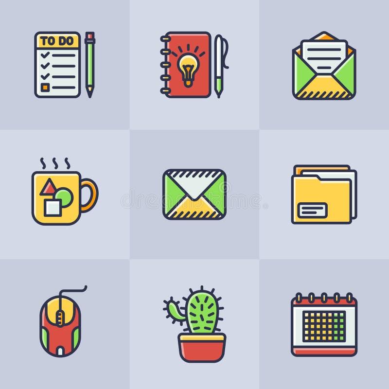 Grupo de ícones do escritório do vetor ilustração stock