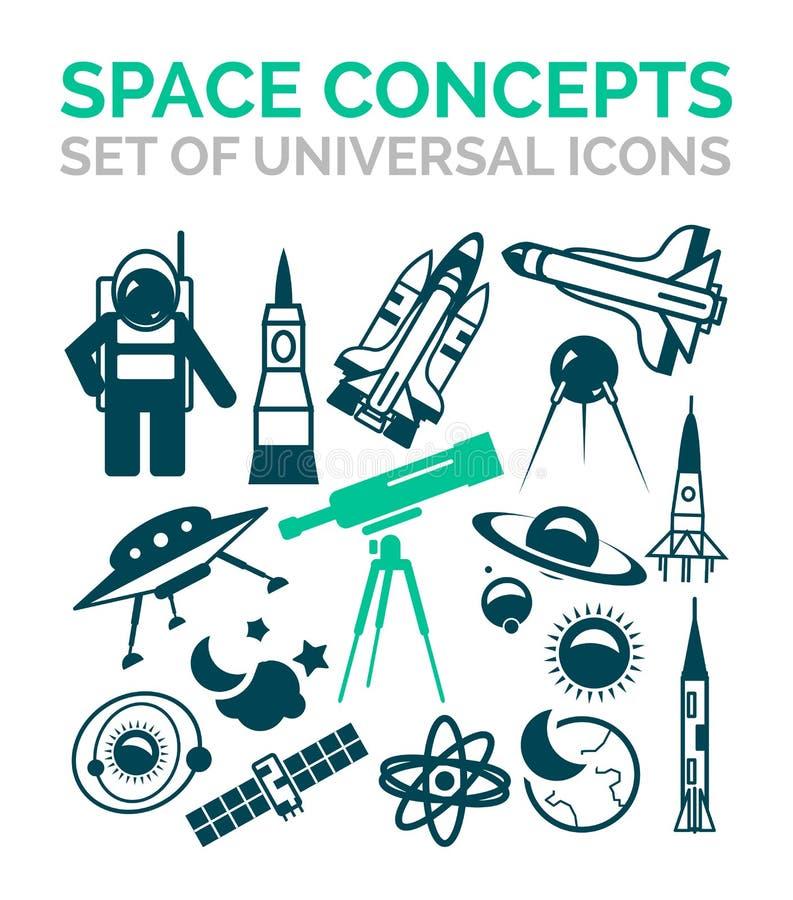 Grupo de ícones do espaço ilustração royalty free