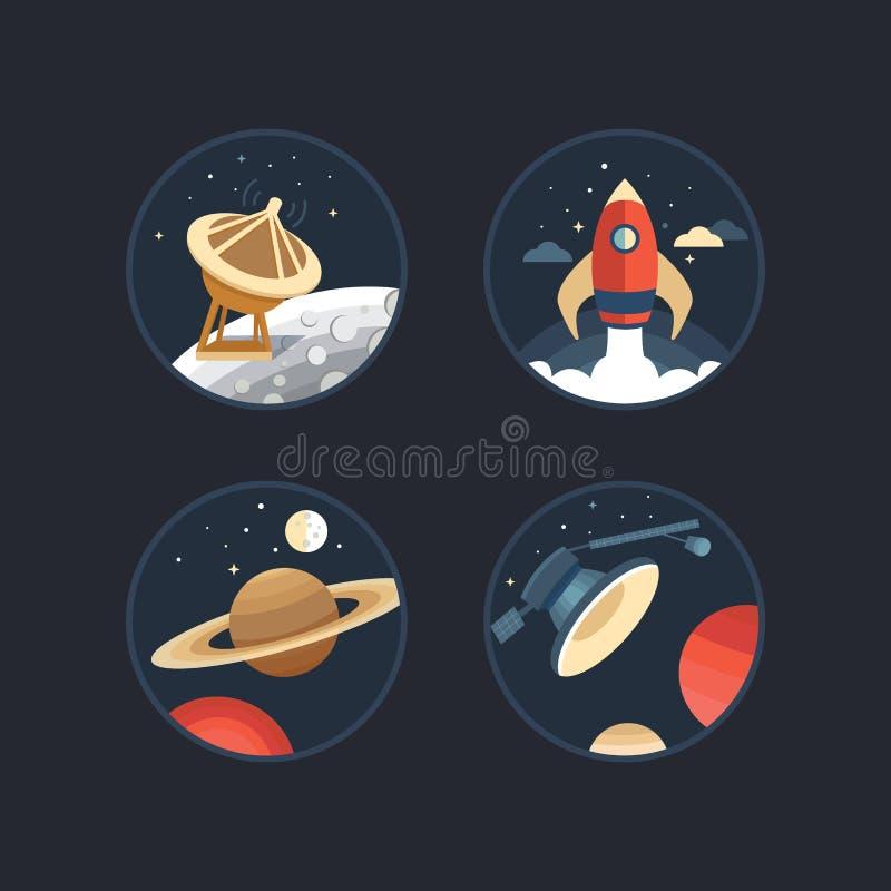 Grupo de ícones do espaço ilustração do vetor