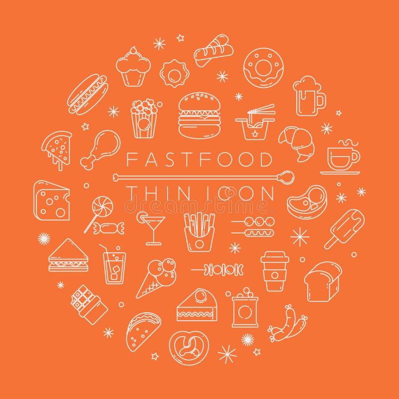 Grupo de ícones do fastfood ilustração royalty free