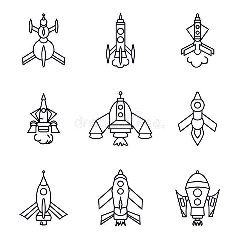 Grupo de ícones do foguete isolados no fundo branco, linha lisa ilustração do estilo da arte ilustração do vetor