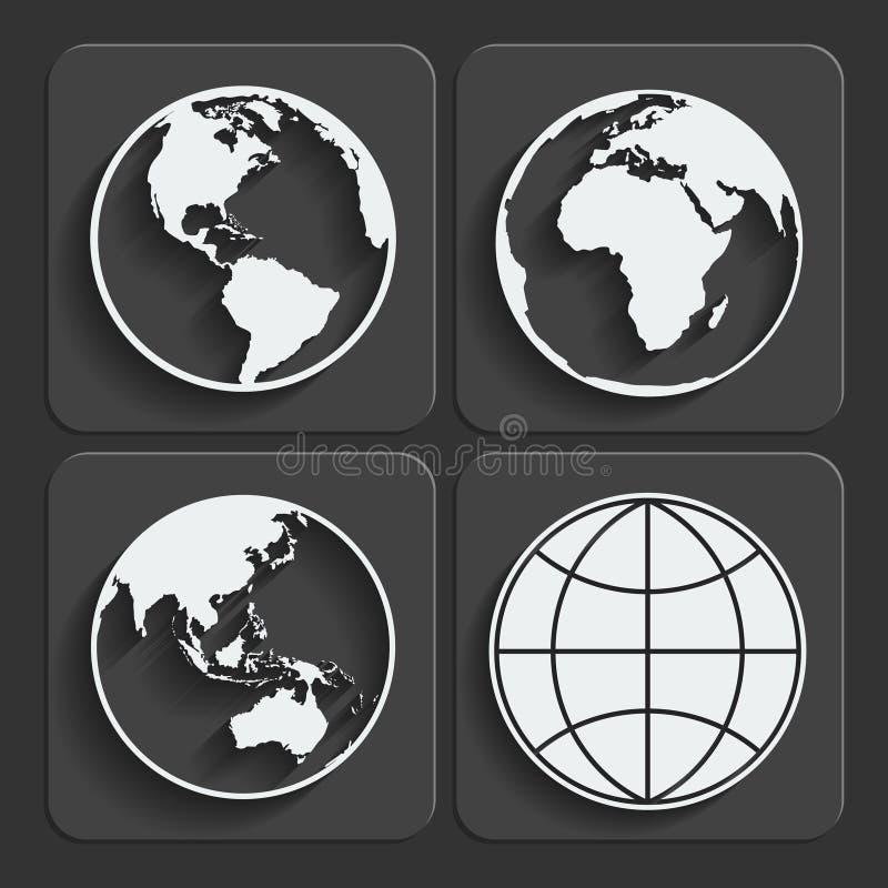 Grupo de ícones do globo do planeta da terra. Vetor. ilustração royalty free