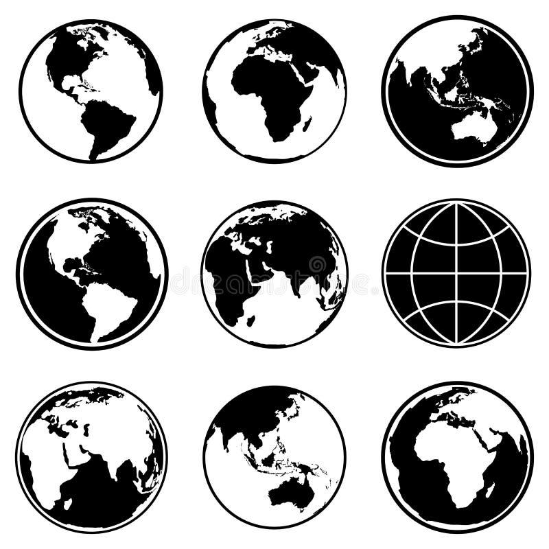 Grupo de ícones do globo do planeta da terra Vetor ilustração stock