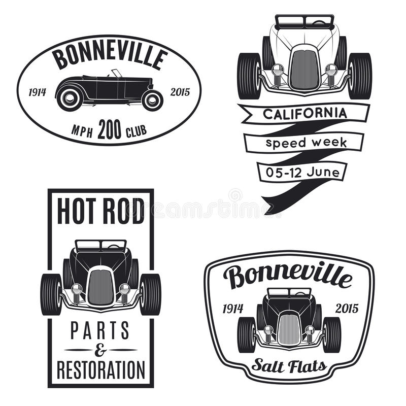 Grupo de ícones do hot rod do vintage ilustração stock