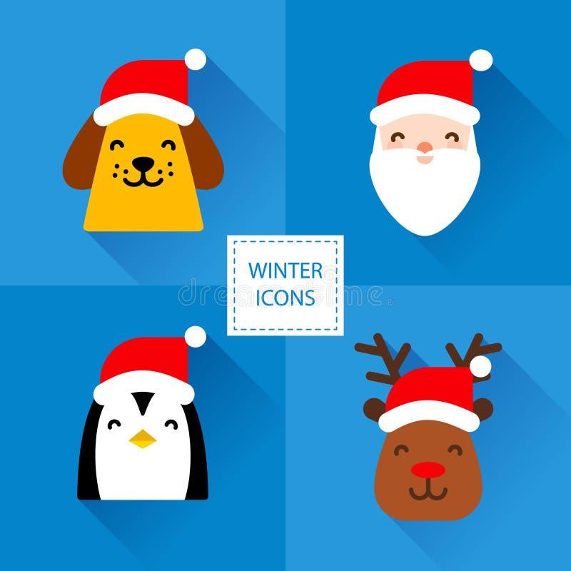 Grupo de ícones do inverno com caráteres do Natal: cão amarelo, Santa, pinguim e cervos Projeto liso Vetor ilustração stock