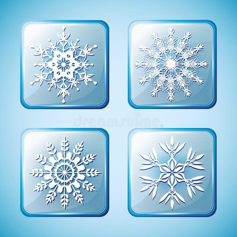 Grupo de ícones do inverno com flocos de neve ilustração stock